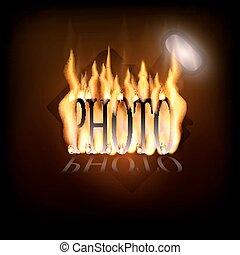 ロゴ, カメラ, 燃えている