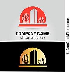 ロゴ, カラフルである, ベクトル, 建物