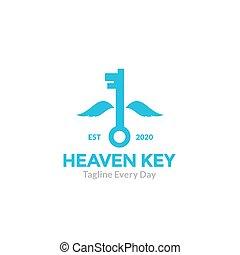 ロゴ, キー, 飛行, 翼, デザイン