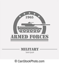 ロゴ, グラフィック, バッジ, テンプレート, 軍
