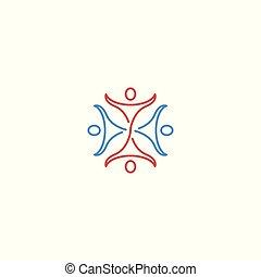 ロゴ, グループ, テンプレート, 人々