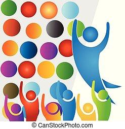 ロゴ, グループ, リーダー, 人々
