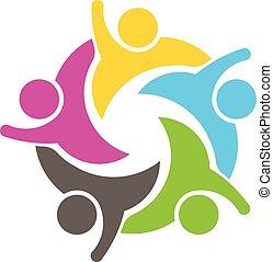 ロゴ, グループ, 人々