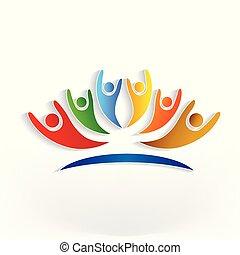 ロゴ, グループ, 楽天的である, 人々