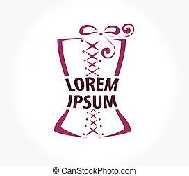 ロゴ, コルセット, template., デザイン