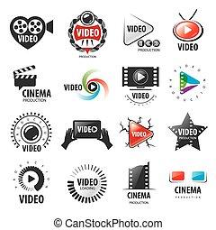 ロゴ, コレクション, 生産, ベクトル, ビデオ, 最も大きい