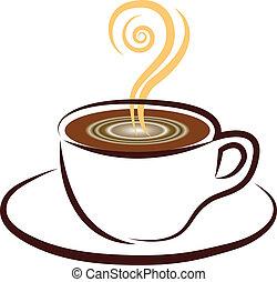 ロゴ, コーヒーカップ, デザイン, アイコン