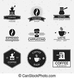 ロゴ, コーヒー セット, 型, ラベル, ベクトル