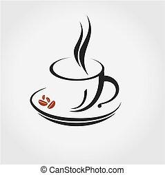 ロゴ, コーヒー, 印。