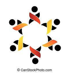 ロゴ, サポート, チームワーク