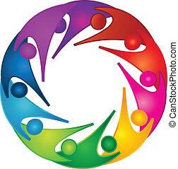 ロゴ, サポート, チームワーク, 人々