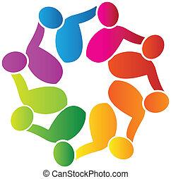 ロゴ, サポート, ベクトル, チームワーク, 人々