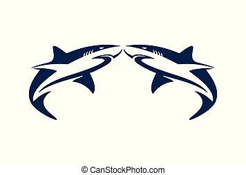 ロゴ, サメ, 2, 抽象的, アイコン