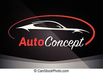 ロゴ, シルエット, sportscar, 車