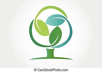 ロゴ, シンボル, エコロジー, 木
