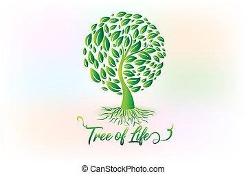 ロゴ, シンボル, エコロジー, 木, leafs