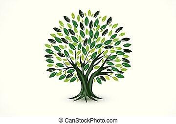 ロゴ, シンボル, ベクトル, エコロジー, 木