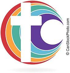 ロゴ, シンボル, 交差点, 教会