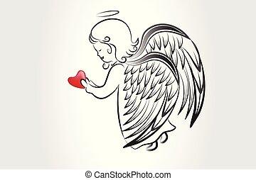 ロゴ, スケッチ, 愛, アイコン, 心, 祈ること, ベクトル, イメージ, アートワーク, 天使