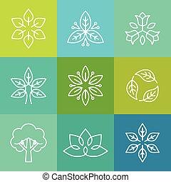 ロゴ, スタイル, エコロジー, 有機体である, アウトライン, ベクトル