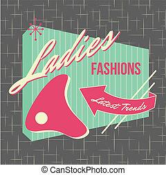 ロゴ, スタイル, デザイン, 1950s, 店先