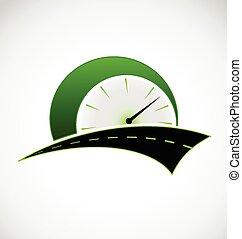 ロゴ, スピード, 道, 走行距離計