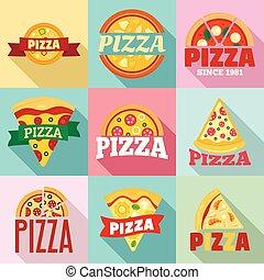 ロゴ, セット, スタイル, ピザ, 平ら