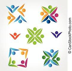 ロゴ, セット, チームワーク, コレクション, 人々
