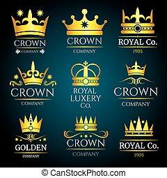 ロゴ, セット, 宝石類, 型, ブティック, 王冠, ベクトル, 贅沢, monogram