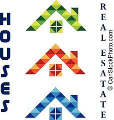 ロゴ, セット, 家