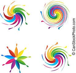 ロゴ, セット, 波