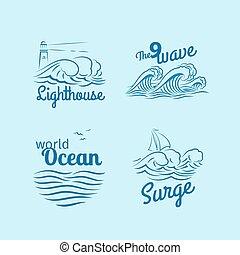 ロゴ, セット, 海洋 波