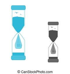 ロゴ, セット, 砂時計