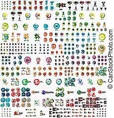 ロゴ, セット, 線である, mega, 切手, ベクトル