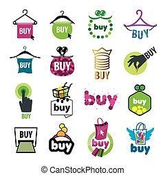 ロゴ, セット, 購入, 大きい, ベクトル, 商品