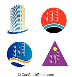ロゴ, セット, 超高層ビル, テンプレート