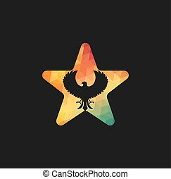 ロゴ, タカ, ベクトル, 星, design.