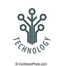 ロゴ, チップ, ベクトル, 木, 技術