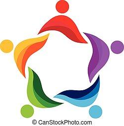 ロゴ, チームワーク, のまわり, 人々