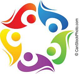 ロゴ, チームワーク, カラフルである, 多様性