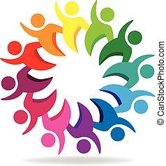 ロゴ, チームワーク, グループ, 人々