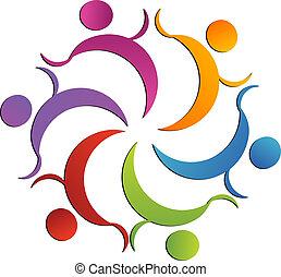 ロゴ, チームワーク, グループ, 慈善活動である