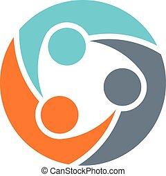 ロゴ, チームワーク, グループ, 3人の人々