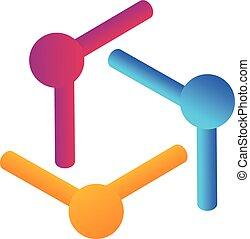 ロゴ, チームワーク, デザイン, 人々, 裁判