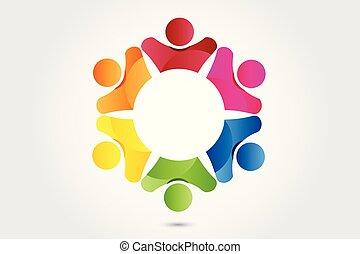 ロゴ, チームワーク, パートナー, ビジネス 人々