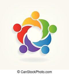 ロゴ, チームワーク, ビジネスマン