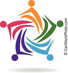 ロゴ, チームワーク, ビジネス, カラフルである
