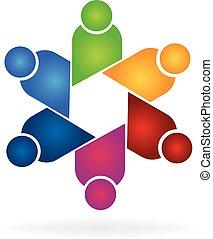 ロゴ, チームワーク, ビジネス