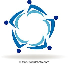 ロゴ, チームワーク, ビジネス 人々