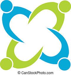 ロゴ, チームワーク, ビジネス, 成功